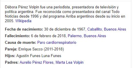 Debora Perez Volpin - busqueda en Google